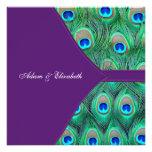 Plum Purple Peacock Wedding Invitations