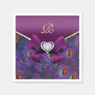 Plum Purple Peacock Wedding Paper Party Napkins Disposable Napkin