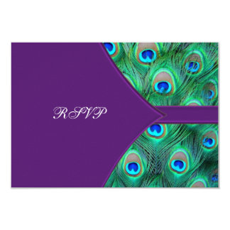 Plum Purple Peacock Wedding RSVP 9 Cm X 13 Cm Invitation Card