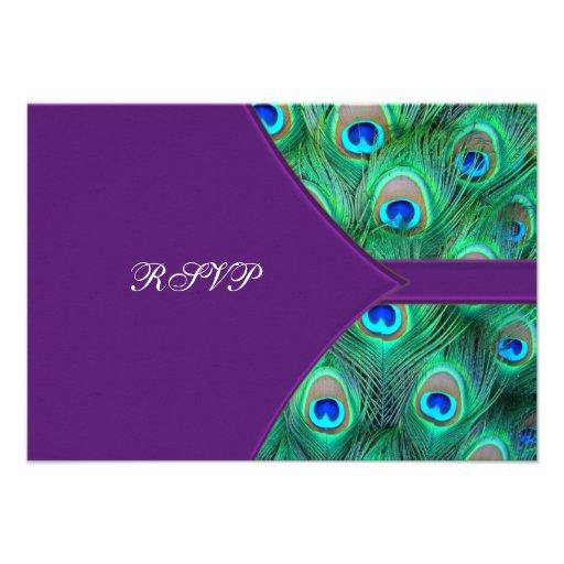 Plum Purple Peacock Wedding RSVP Invites