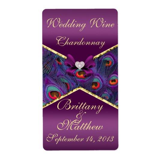 Plum Purple Peacock  Wedding Wine Label
