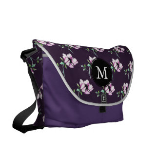 Plum Purple  Pink Watercolor & Ink Flowers Messenger Bag