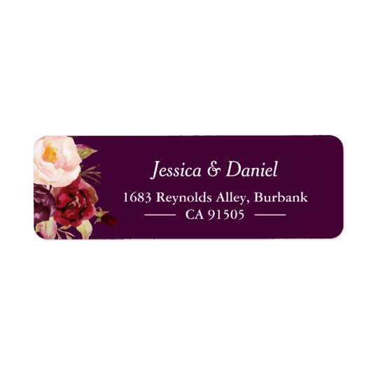 Plum Purple Rustic Floral Simple Classy Return Address Label