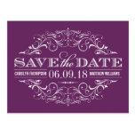 Plum Purple Save the Date | Swirl and Flourish