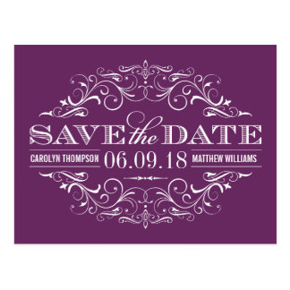 Plum Purple Save the Date | Swirl and Flourish Postcard
