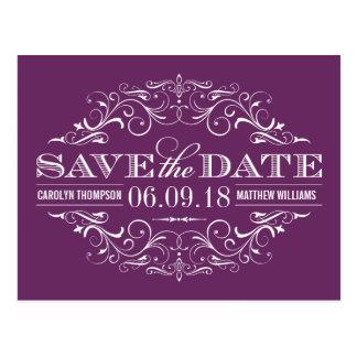 Plum Purple Save the Date | Swirl and Flourish Postcard