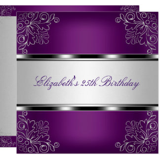 Plum Purple Silver Floral 25th Birthday Party Card