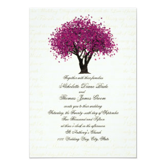 Plum Purple Tree Dancing Blooms Wedding 13 Cm X 18 Cm Invitation Card