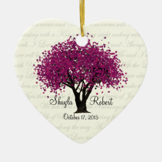 Plum Purple Tree Wedding Photo Christmas Ornament