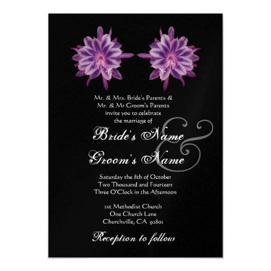 PLUM PURPLE Tropical Flowers Wedding Invitation