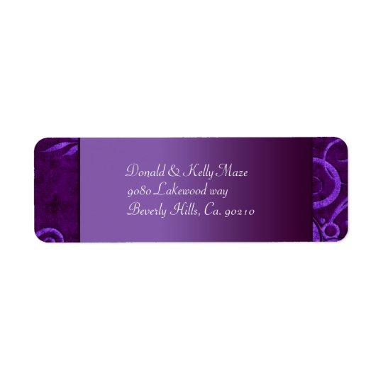 Plum & Purple Velvet Wedding Swirl Return Address Label