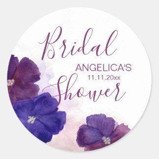 Plum Purple Violet Floral Watercolor Bridal Shower Classic Round Sticker