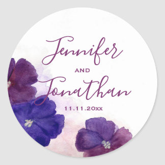 Plum Purple Violet Floral Watercolor WEDDING Classic Round Sticker