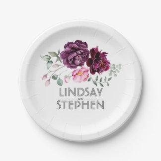 Plum Purple Watercolor Floral Bouquet Wedding Paper Plate