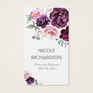 Plum Purple Watercolor Flowers Bouquet Elegant Business Card