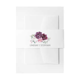 Plum Purple Watercolor Flowers Elegant Wedding Invitation Belly Band