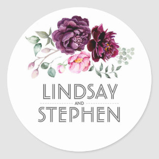 Plum Purple Watercolor Flowers Elegant Wedding Round Sticker