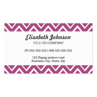 Plum purple whimsical zigzag chevron pattern business cards