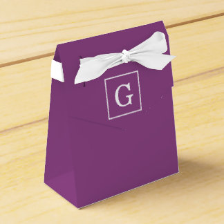 Plum Purple White Framed Initial Monogram Favour Box