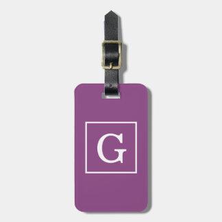 Plum Purple White Framed Initial Monogram Luggage Tag