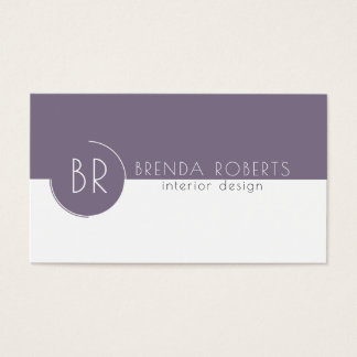 Plum-Purple & White Modern Geometric Design Business Card