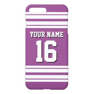 Plum Purple White Team Jersey Custom Number Name iPhone 7 Plus Case