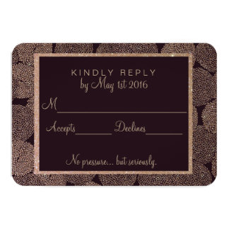 Plum & Rose Gold Wedding RSVP Card 9 Cm X 13 Cm Invitation Card