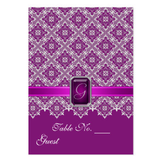 Plum & Silver Lace Wedding Table Setting PlaceCard Pack Of Chubby Business Cards