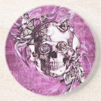 Plum smoke skull with butterflies. drink coasters