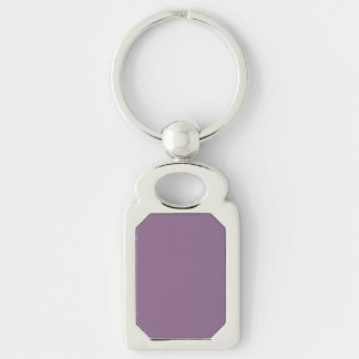 Plum Solid Color Silver-Colored Rectangle Key Ring