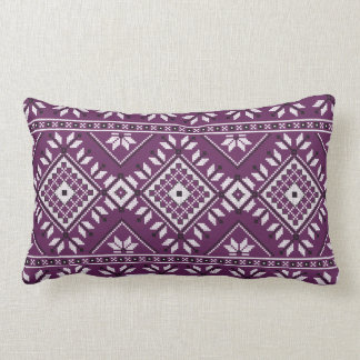 Plum Southwest Aztec Native Tribal Pattern Lumbar Cushion