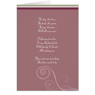 Plum striped Be my bridemaid card