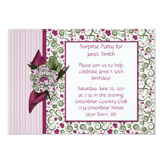 Plum Stripes and Leaves Party Invitation