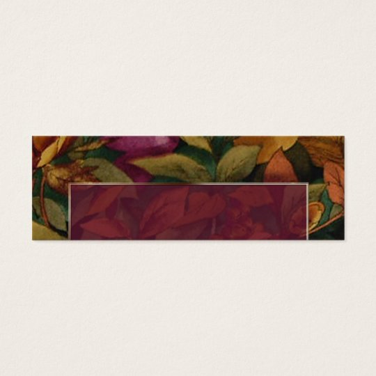Plum Text Frame with Fall Flower Placecard Mini Business Card