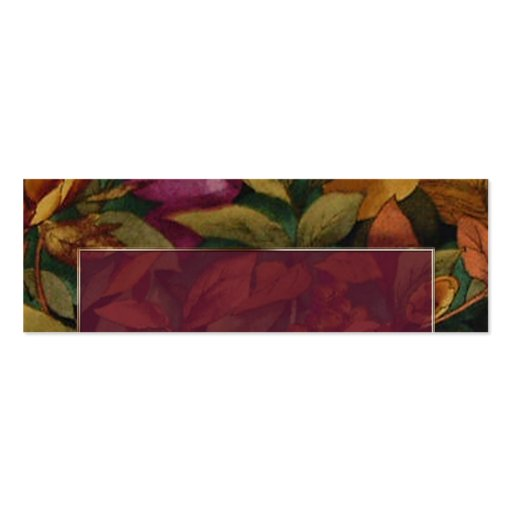 Plum Text Frame with Fall Flower Placecard Pack Of Skinny Business Cards