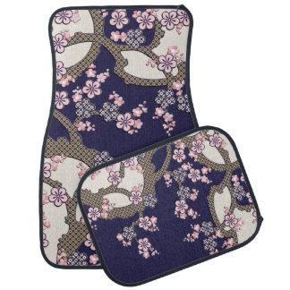 Plum tree flowers traditional japanese textile car mat