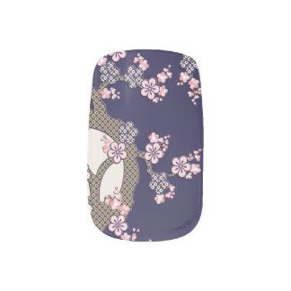 Plum tree flowers traditional japanese textile minx nail art