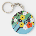 Plum Tree In Blossom Basic Round Button Key Ring