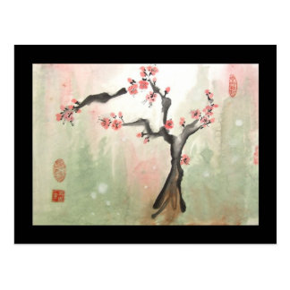 Plum Tree Postcard with Black Border