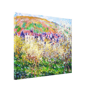 Plum Trees in Blossom at Vetheuil Claude Monet Canvas Print