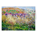 Plum Trees in Blossom at Vetheuil Claude Monet Note Card