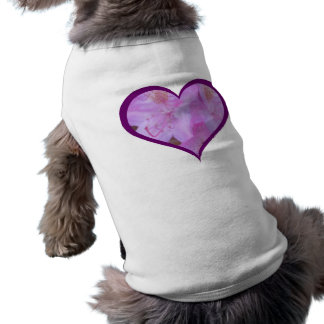 Plum Trimmed Pink Floral Heart Dog Tee