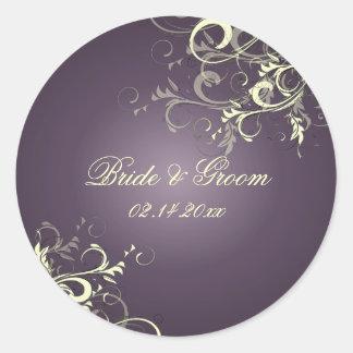 Plum vanilla swirls wedding stickers