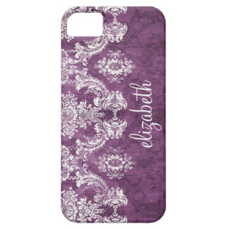 Plum Vintage Damask Pattern and Name Barely There iPhone 5 Case