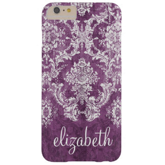 Plum Vintage Damask Pattern and Name Barely There iPhone 6 Plus Case