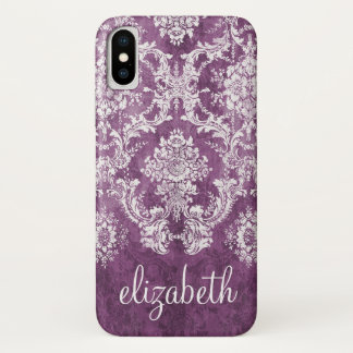 Plum Vintage Damask Pattern and Name iPhone X Case