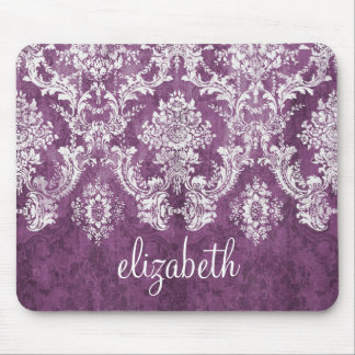 Plum Vintage Damask Pattern and Name Mouse Mat