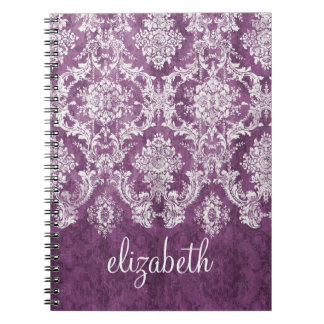 Plum Vintage Damask Pattern and Name Spiral Notebook