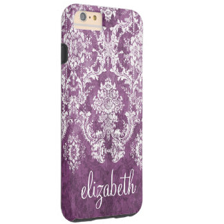 Plum Vintage Damask Pattern and Name Tough iPhone 6 Plus Case