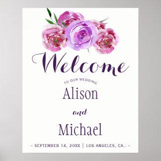 Plum violet floral bouquet wedding welcome sign